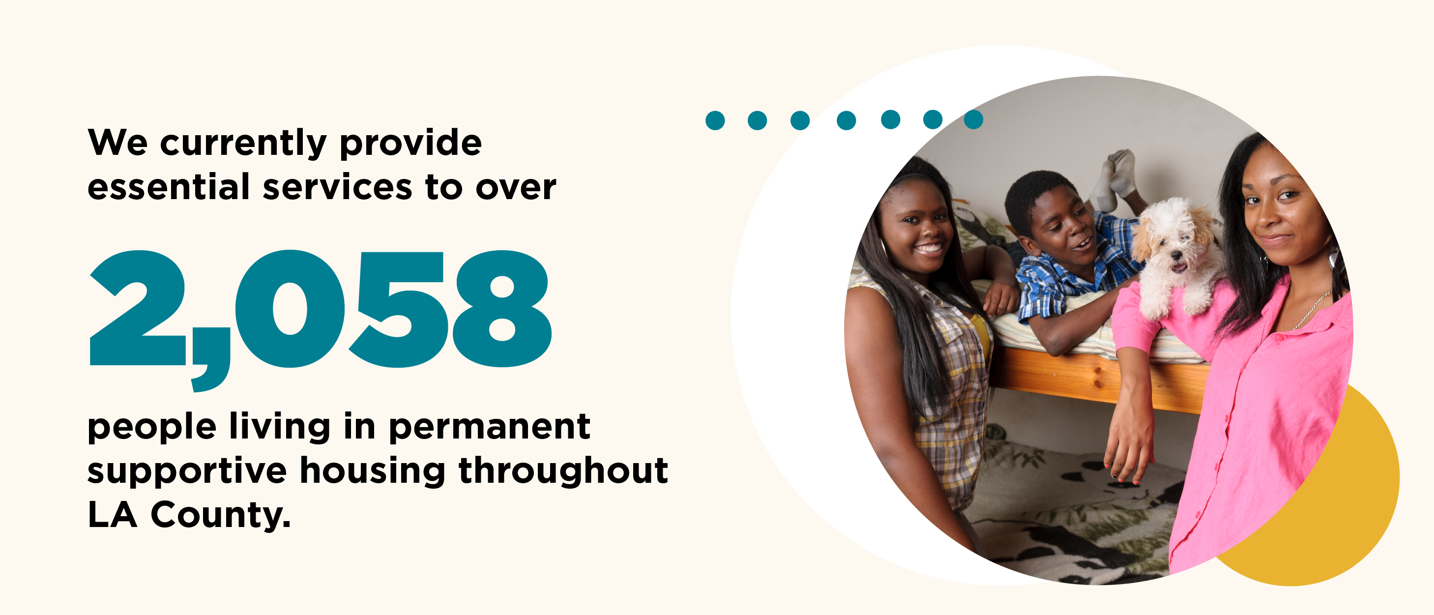 We currently provide essential services to cover 2058 people living in permanent supportive housing throughout LA county.